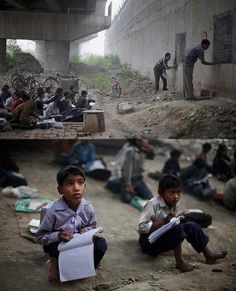 Powerful image of learning...whatever it takes!  Also a great photo for inferring...