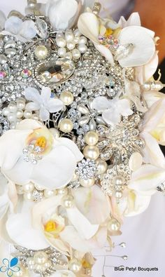 Orchid Brooch Bouquet - Blue Petyl … | Brooches♥Bouquets♥<3