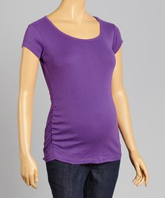 Look at this #zulilyfind! Purple Ruched Maternity Scoop Neck Top - Women #zulilyfinds
