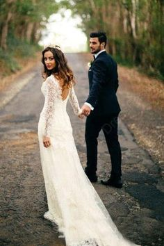 Sexy Mermaid Long Sleeves White Lace Wedding Dress WD120