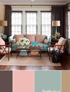 Цветовая схема дня: темно-коричневый, светло-розовый, серо-голубой, тан