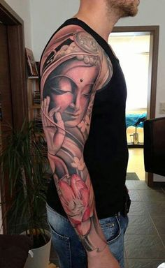 For men, this is one design they can decide on for a full sleeve tattoo. The little touches of pink can make a black and white tattoo appear smoother.