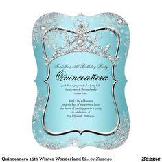 Quinceanera 15th Winter Wonderland Silver Blue 5x7 Paper Invitation Card