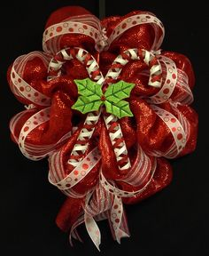 Candy Cane Wreath, Christmas Wreath, Red White Wreaths, Poly Mesh Wreaths, Mesh Wreaths - Item 505