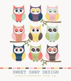 Owl Clip Art, Animal Clip Art, Baby Shower Clip Art, Royalty Free Clipart, Instant Download