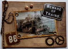 Le blog de Jolanda: Carte Hommes avec le train Train, Masculine Cards, Tim Holtz, Fathers Day, Card Making, Blog, Gears, Stamping, How To Make