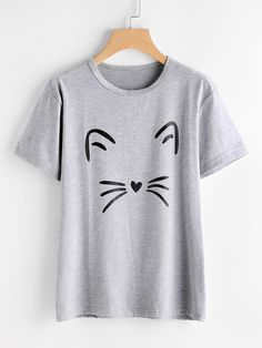 Newly Women Cat Face Cartoon Print Short Sleeve T Shirt Casual Shirts Drop Shipping 80301 Gray XL Printed Tees, Printed Shorts, Cat Shirts, Funny Shirts, Short Sleeve Blouse, Long Sleeve Shirts, Blouses For Women, T Shirts For Women, Casual T Shirts