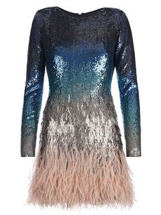 Blue silk dress with graduated tonal blue sequin embellishment, grey drop sequins and nude ostrich feather skirt by Matthew Williamson $4380