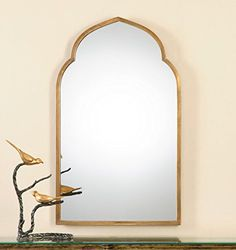 gold shaped arch wall vanity mirror unusual curved intelligent design httpwww
