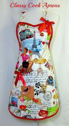 Apron I Love PARIS, Retro Red GIRLY, Parisian Sidewalk CAFE, Eiffel Tower, April In Paris, by ClassyCookAprons, $36.50