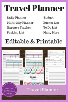 Instantly editable, downloadable and printable travel planner! Planners, calendars, and budgets! #ad #travelplanning #travel  #travelling #travelplanner #budgeting #budget