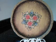 Vintage Wood Tray Folk Art Rosemaling Wicker by AstridsPastTimes, $25.99