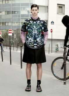 Givenchy Spring 2013 Men Collection... He could have at least shaved his legs if he wasn't going to wear the man-tights