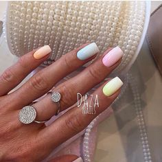 Accurate nails, Beautiful nail colors, Bright colorful nails, Colorful gel polish nails, Everyday nails, Square nails, Summer colorful nails, Summer nails ideas