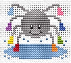 Sew Simple Spider cross stitch kit from Fat Cat Cross Stitch Sheep Cross Stitch, Cat Cross Stitches, Cross Stitch For Kids, Mini Cross Stitch, Cross Stitch Cards, Simple Cross Stitch, Cross Stitch Animals, Counted Cross Stitch Kits, Cross Stitch Embroidery