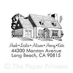 Custom Retro House Rubber Stamp Return Address. $21.99, via Etsy.