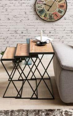 Wohnling WOHNLING 3er Set Design Beistelltische AKOLA Akazie Satztische  Metallbeine | Anstelltische Aus Massivholz | Couchtisch