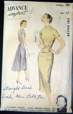 Vintage Original Advance Import 50's Cocktail Dress Pattern No 104 | eBay
