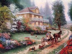 "Thomas kinkade Horse And Carriage Cross Stitch Pattern***L@@K***YOUR FINISHED PATTERN SIZE. 360 Stitches x 270 Stitches 20.0"" X 15.0"" ON (18 COUNT) AIDA CLOTH. ~~ I SEND WORLD-WIDE ~~Free"