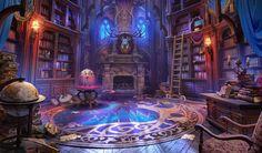 library by dj bekas on ArtStation. Fantasy Artwork, Fantasy Art Landscapes, Fantasy Concept Art, Fantasy Landscape, Dark Fantasy, Fantasy Bedroom, Fantasy Rooms, Fantasy Castle, Fantasy Places