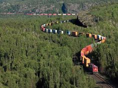 A Canadian Pacific Railway's foot intermodal train, near Lake Superior in Northern Ontario, Canada ~ Photo by. Ontario, Diesel, Canadian Pacific Railway, U Bahn, Train Tracks, Historical Sites, Beautiful World, Places To Go, Scenery
