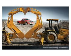 HEART, Dodge Ram, way to sell a truck.These are Caterpillar C, or D Series backhoes because they have excavator style backhoes