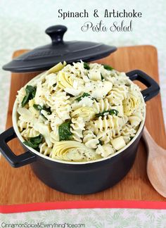 Spinach and Artichoke Pasta Salad.  I will drop the oil and use non-dairy.  Yummm!