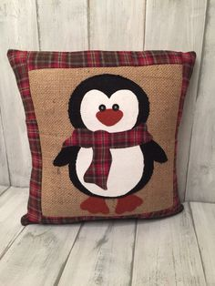 Burlap pillow penguin pillow decorative by thelittlegreenbean