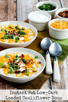 This Instant Pot Low-Carb Loaded Cauliflower Soup is going to be one I'll make over and over, and this tasty soup is also Keto, low-glycemic, gluten-free, and can be South Beach Diet friendly. Use theRecipes-by-Diet-Type Indexto find more recipes like this one. Click here to PIN this delicious Instant Pot Low-Carb Loaded Cauliflower Soup. Click …