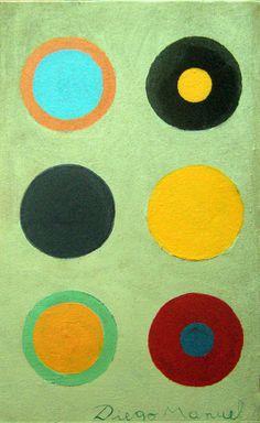 Composición con circulos 4, acrylic on canvas, 19 x 29 cm. 2016