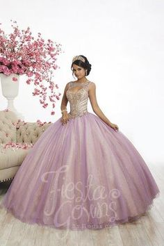Fiesta Quinceanera 56344 Vivid ball gown with a bejeweled corset, a lace-up back, sweetheart neckline, and two-tone tulle and sparkle tulle. Features illusion cap s Pretty Quinceanera Dresses, Quinceanera Party, Prom Dresses, Formal Dresses, Quinceanera Centerpieces, Chiffon Dresses, Bridesmaid Gowns, Formal Prom, Fall Dresses