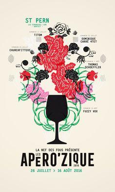 Aperozique 2016  création graphique   © Séverine Lorant / www.beauxdiables.com Communication Design, Logo Branding, Logos, Hand Lettering, Identity, Sculptures, Creations, Typography, Layout
