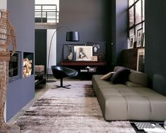 Modern Sofa Design Ideas from B Italia : Soft Beige Sofa and Black Lounge Chair in Grey Painted Walls Classy Living Room Classy Living Room, Living Room Grey, Home And Living, Modern Living, Modern Couch, Small Living, Deco Salon Design, Modern Interior, Interior Architecture