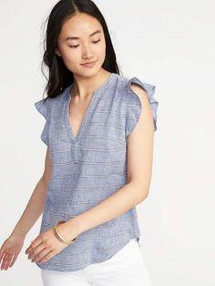 Old Navy Ruffle-Trim Linen-Blend Popover Shirt for Women Blusas Sin Mangas b6c5e49ec2451