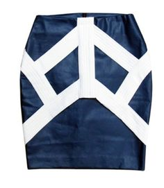 Korean designer brand Let-Kuzmus designed this chic skirt with band detail at front, have solid blue and striped version, shop @ www.lindasbang.com