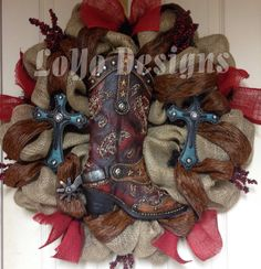 Door Wreath, Country Wreath - Western Wreath - Burlap Wreath - Rustic Wreath - Cowboy Wreath on Etsy, $75.00