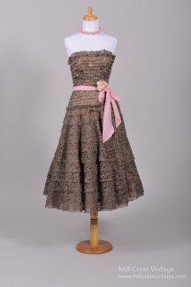 1950's Steel Gray Tiered Lace Vintage Party Dress #millcrestvintage @Mill Crest Vintage