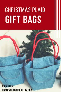Bright red, green, yellow, and white plaid adds a festive Christmas touch to our petite denim gift bags: https://www.etsy.com/handiworkingirls/listing/88369183/plaid-christmas-gift-bags-reusable-denim