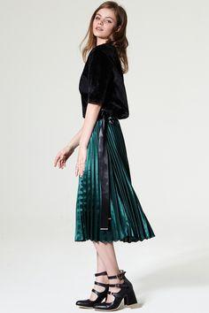 Yeon Satin Ribbon Pleated Skirt Discover the latest fashion trends online at storets.com #skirt #satinskirt #pointskirt