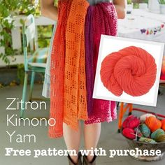 NobleKnits.com - Zitron Kimono Yarn + Lace Scarf Pattern free with purchase