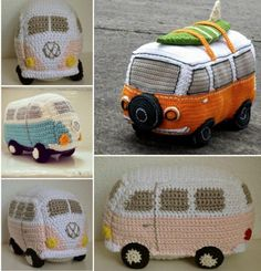 Crochet Amigurumi Patterns VW Bus Free Crochet Pattern - You'll love to make this adorable Crochet Volkswagen Bus and it's just one of many fabulous Free Patterns in our post. Check out the Vintage Caravan too. Crochet Car, Crochet Gifts, Cute Crochet, Crochet Patterns Amigurumi, Crochet Dolls, Knitting Patterns, Volkswagen Bus, Vw Camper, Volkswagen Beetles