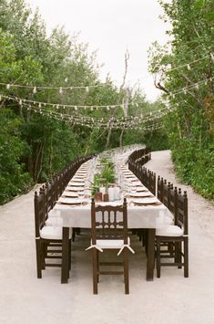 long, beautiful table in the mangroves of Mayakoba Photography by Aaron Delesie Photographer / http://aarondelesie.com, Event Design   Production by Lisa Vorce / http://lisavorceohc.squarespace.com/, Floral Design by Mindy Rice / http://mindyrice.com/