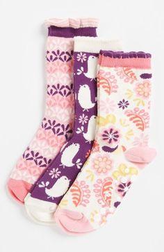 Nordstrom 'Folk Bird' Crew Socks (3-Pack) (Little Girls) | Nordstrom