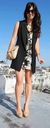 como usar colete preto alfaiataria com vestido larissa lanzo consultoria de estilo                                                                                                                                                                                 Mais