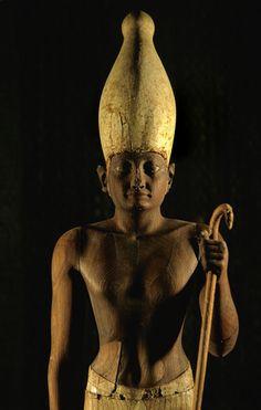 Statue of Pharaoh Senusret I wearing the white crown of Upper Egypt.
