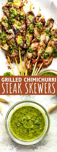 Tender flank steak meets Argentinian cilantro sauce in these Grilled Chimichurri Steak Skewers. Each beef kebab is packed with amazing flavors! Kebab Recipes, Grilling Recipes, Beef Recipes, Smoker Recipes, Steak Skewers, Kebabs, Shish Kabobs, Easy Dinner Recipes, Easy Meals
