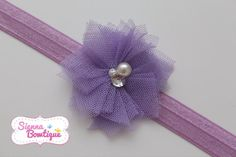 Tulle headband crafted using squares of tulle and pearls