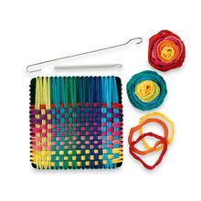 """It's easy to weave beautiful and useful potholders with this authentic, sturdy metal loom. The Potholder Loom Kit includes enough brightly-colored cotton loops to make two 6""""-square potholders, plus a loom hook and illustrated instructions. This creative and fun activity builds self-confidence along with fine motor skills and concentration! Made in the USA."""