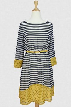 Such a pretty nautical and pattern mixed dress via @evermicrush!! Brunch Time Belle Dress