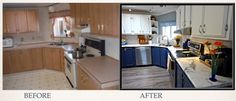 Before & After of the Serving & Cooking Zone Diy Kitchen, Kitchen Cabinets, Before After Kitchen, Kitchens, Cooking, Design, Home Decor, Kitchen, Decoration Home